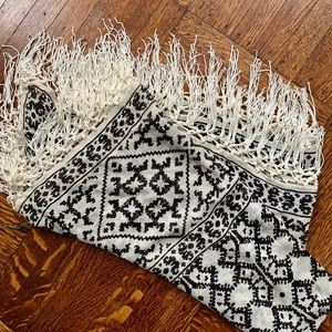 Anthropologie Black/White Fringe Scarf/Shawl